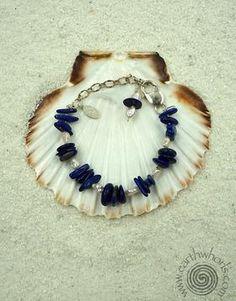 Lapis, Fresh Water Pearl & Sterling Silver Bracelet - EarthWhorls, LLC