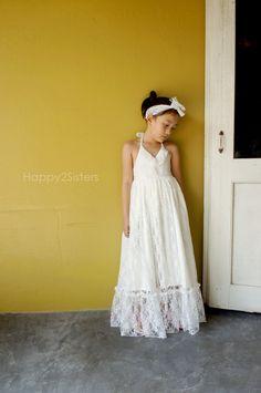 Lace flower girl dress, Ivory flower girl dress, rustic flower girl dress,  Beach flower girl dress, Navy blue flower girl dress by Happy2sisters on Etsy https://www.etsy.com/listing/252629865/lace-flower-girl-dress-ivory-flower-girl