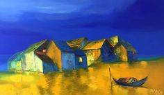 Dao Hai Phong - Waiting under the Moonlight | Oil on Canvas | (80cm x 133cm) | Inquiry