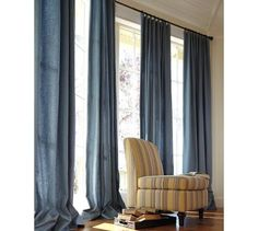 PB linen curtains - hudson blue