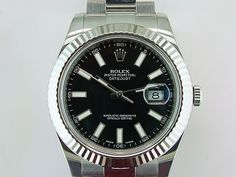 Rolex Datejust II 116334 18K Bezel Stainless Steel 41mm Black Dial Mens Watch in Jewelry & Watches | eBay