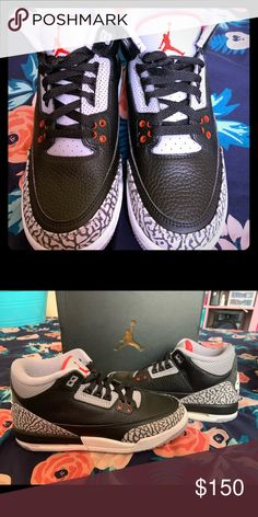 ba40042a358b Air Jordan Retro 3 Og Black Cement Excellent Condition Jordan Shoes  Athletic Shoes