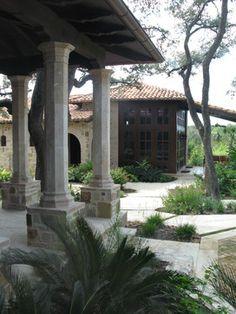 Great mix of steel, brick, stone and stucco walls. Casa Espanola, Austin, Braswell Architect