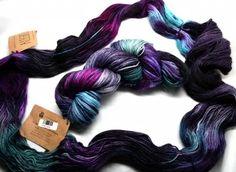 Conflagration: Yarn Kits, Earthfaire Teal Green, Purple, Knitting Kits, Dip Dye, Garter Stitch, Pattern Making, Color, Colour, Viola