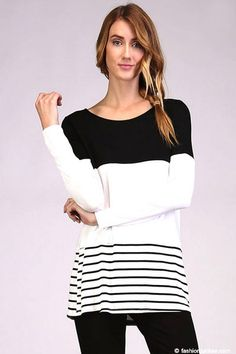 Long Sleeve Striped Color Block Tunic Top-Black & White