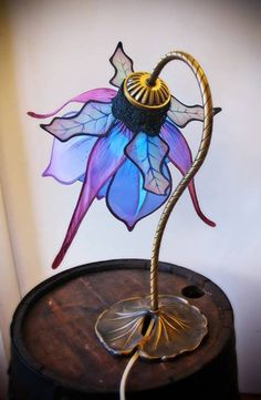 Blue flower faerie lamp