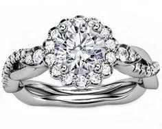 Diamond Halo Engagement Ring Twisted Pave Band