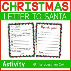This fun activity includes a letter to Santa that kids can fill out and also comes with a Thank You Letter!⭐ In Black and White & Color!✧✧✧✧✧✧✧✧✧✧✧✧✧✧✧✧✧✧✧✧✧✧✧✧✧✧✧✧✧✧✧✧✧✧✧✧✧Claim Your TPT Credits!Go to your My Purchases page. Click Provide Feedback to leave me a quick rating! Every time you leav... Christmas Printable Activities, Fun Activities, Thank You Letter, Santa Letter, Black And White Colour, Teacher Newsletter, Winter Christmas, Lettering, Fill