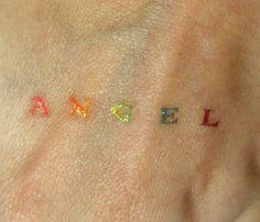 angel glitter temporary tattoo Pretty Tattoos, Cool Tattoos, Tatoos, Body Art Tattoos, I Tattoo, Light Tattoo, Small Tats, Minimal Tattoo, Future Tattoos