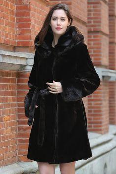689f05d361 Brown Fabulous Sheared Mink Faux Fur Coat with Hood