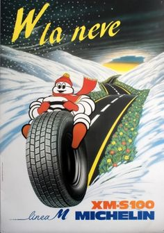 Michelin Tyres XM S100 Bibendum, 1983 - original vintage poster listed on AntikBar.co.uk