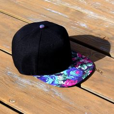 Black Snapback Hat With Multi-Color Vintage Floral Brim Blank Cap Custom Embroidery. Flat Bill Hats, Flat Hats, Beanie Hats, Brim Hat, Beanies, New Man Clothing, Clothing Ideas, Black Snapback Hats, Tumblr Outfits