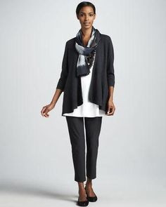 Eileen Fisher designed these slim and sleek crepe pants to play well with others. Signature washable stretch crepe with elegant day-to-night texture. Approx. 9in rise; pull-on waist. Slim... More Details