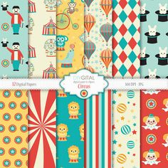Circus Digital Paper - Carnival - clown, lion, elephant, monkey, seal,circus tent, big top, carnival party, hot air balloon, ferris wheel