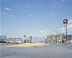 Las Vegas Strip at Tropicana Blvd, 1972. Desert Rose Motel on the left where New York New York now stands. Aladdin Tower is seen to the right.✿❀