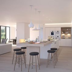 Many people consider the kitchen to be the heart of the home. Modern Kitchen Island, Kitchen Island With Seating, Kitchen Benches, Kitchen Extension Open Plan, Open Plan Kitchen, New Kitchen, Home Decor Kitchen, Home Decor Bedroom, Kitchen Furniture