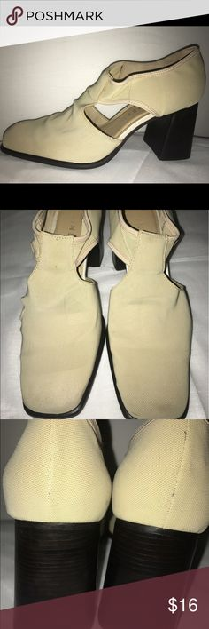 """Nine West size 9M tan Wedges Cute pair of summer wedges perfect for casual pool side or dressy cocktail party.  Size 9M Sandstone color - tan beige Khaki  3"""" Heels  Man Made material- upper Leather inside lining  Great shape- see bottoms for wear& please check photos carefully Nine West Shoes Wedges"""