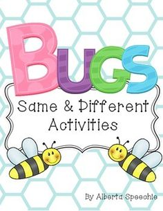 This is three same and different activities for preschoolers and kindergarteners based on a bug theme. The activities slowly become complex.In the first game, students have to pick out the one card that is different out of a group of four cards.The second game is a file folder game where students sort pairs of pictures.