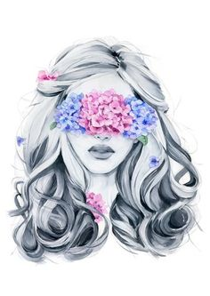 Hydrangea blindfolded girl from my wall art print collection. Art And Illustration, Watercolor Illustration, Watercolor Paintings, Original Paintings, Bright Art, Art Drawings Sketches, Art Sketchbook, Cute Art, Art Girl