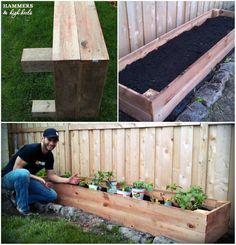 Raised garden bed for along fence ..easy