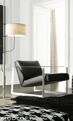 A favorite of mine, the Modloft Crosby lounge chair features a rich eco pelle upholstered angled seat on a powder coated frame making it one stunning chair for your contempo lounge. Available in our quick-ship program for immediate delivery.