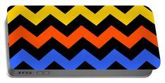 Chevron Portable Battery Charger featuring the digital art Zagged by Otis Porritt