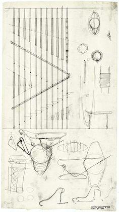 early sketch for main stairway | Villa Mairea | Noormarkku, Finland | Alvar Aalto 1938-39