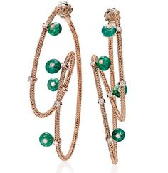 Twist Collection Earrings by Giovanni Ferraris, in rose gold with titanium, 0.48ct diamonds and 7.11ct emeralds  #earring  #twistcollection #giovanniferraris #goldjewellery #contemporaryjewellery  #emerald