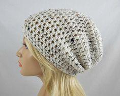 Oatmeal Slouchy Beanie Womens Crochet Slouch Hat Ivory Tweed Winter Hat Oatmeal Crochet Beanie