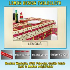 Just arrived another truck about to be unloaded  4 seater 6 seater... at these prices they will not last http://www.curtainsrus.com.au/products/4-seater-6-seater-8-seater-10-seater-lemons-tablecloth-discounted-clearance-item-rectangle-145-x-230-145-x-260-145-x-300?utm_campaign=social_autopilot&utm_source=pin&utm_medium=pin