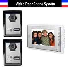 2 Camera 1 Monitor 7 Inch Monitor Video Door Phone Intercom Doorbell System Video Intercom interphone Kit for Villa office