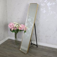 Tall Gold Framed Full Length Freestanding Cheval Mirror Tall full length cheval mirror in gold framed freestanding design, bedroom vanity mirror Simple but stunning cheval mirror with thick gold frame surround with easel style stand Gold Framed Mirror, Floor Length Mirror, Cute Room Ideas, Living Room Mirrors, Cute Room Decor, Gold Mirror Living Room, French Style Mirrors, Gold Frame, Cheval Mirror