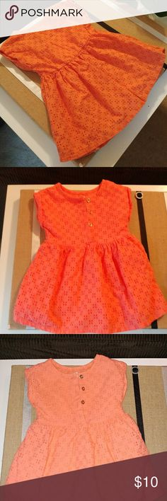 Orange Infant Dress Orange crochet pattern dress good condition size 18 M  *no rips, tears or stains* cat and jack Dresses Casual