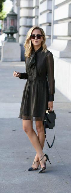 pinstripe tie neck chiffon dress, pointed toe heels, black shoulder bag, sunglasses + wavy hairstyle {dvf, sjp collection, m2malletier, wonderland}