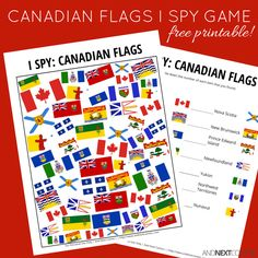 Free printable Canadian flags I Spy game for kids from And Next Comes L