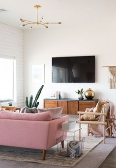 Beautiful Living Room with Brass Accents