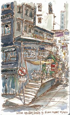 Love these dreamy watercolours of a classic HK street scene