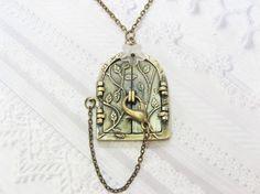 Brass Locket Necklace Blossom Fairy Door Locket