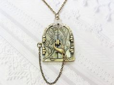 Brass Locket Necklace  Blossom FAIRY DOOR Locket  by birdzNbeez, $24.00