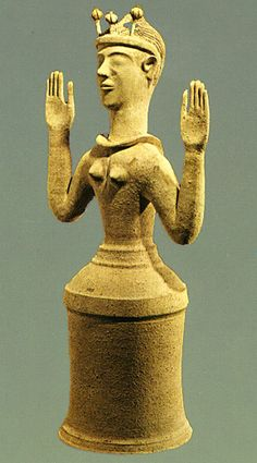 Poppy Goddess  by CARI on 06/11/2009  in HERSTORY  This goddess or priestess figure is from ancient Crete. The Minoan civilization which produced it has such a wealth of goddess imagery I hardly know where to begin, but this one comes to me in meditation. She was made from clay about 2300 years ago.