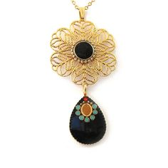 Gold Necklace  Black Drops and  turquoise & gold by @SigalitAlcalai, $56.00