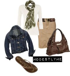 """BasicEdition"" by modestlyme on Polyvore    It's probably crazy, but I like the brown purse ad belt with the brown flip flops... it is the extra step that I never bother taking..."