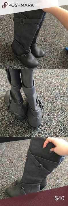 Gray blowfish heeled boots. Highly fashionable heeled boots. Never been worn but on the heel there is a little glue shown. Blowfish Shoes Winter & Rain Boots