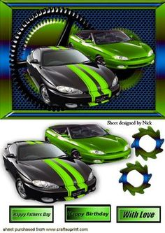 STEAMPUNK FRAME WITH GREEN BLACK SPORTS CARS on Craftsuprint - Add To Basket!