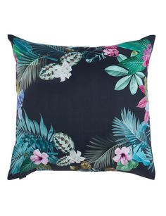 Jump into a tropical paradise with the Domani Vibo Euro Pillowcase. Lush succulents, palm leaves, and birds of paradise make up thisbeautiful design, which is digitally printed onto 100% 370 Thread Count Cotton.