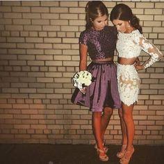 Hoco Dresses, Dance Dresses, Pretty Dresses, Beautiful Dresses, Formal Dresses, Lace Homecoming Dresses, Event Dresses, Two Piece Homecoming Dress, 1950s Dresses
