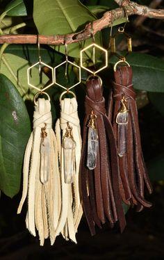 Boho Suede Tassel Crystal Point Drop Earrings Long Hippie Leather Earrings Bohemian Flower Child by OldJewelryBox on Etsy https://www.etsy.com/listing/244430056/boho-suede-tassel-crystal-point-drop