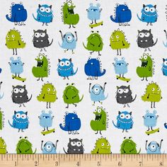 Kaufman Monsters Rows Park from @fabricdotcom  Designed by Sea Urchin Studio for Robert Kaufman Fabrics, this whimsical collection is perfect for a monster-loving little boy's nursery, with primary color palettes, silly monsters, and hand-drawn stars. Perfect for quilting, apparel, and home decor accents. Colors include shades of blue, shades of green, grey, and white.