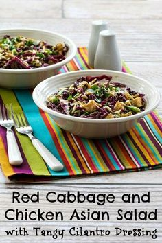 Red Cabbage and Chicken Asian Salad Recipe with Tangy Cilantro ...