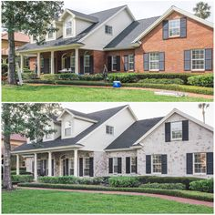 How to Limewash a Brick House in Two Days by Artistic Finishes of North Florida…. How to Limewash a Brick House in Two Days by. House Paint Exterior, Exterior House Colors, Exterior Design, How To Paint A Brick House, Brick House Colors, Cafe Exterior, Exterior Houses, Building Exterior, Brick Exterior Makeover